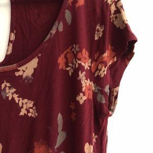Lucky Brand Women's Short Sleeve Burgundy Dress